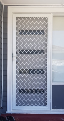White Frame Diamond Security Door
